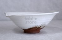 Hagi ware Japanese Serving bowl White glaze Morning glory W200mm