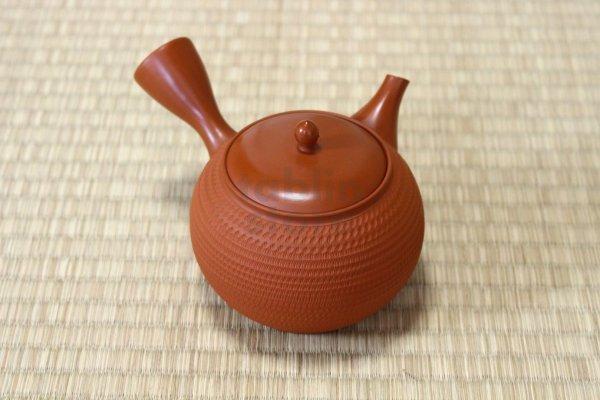 Photo2: Tokoname Japanese tea pot kyusu Gyokko pottery tea strainer shudei red ma 300ml