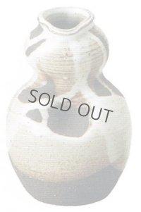 Shigaraki pottery MG Japanese wall-hanging vase white glaze nagashi H13cm