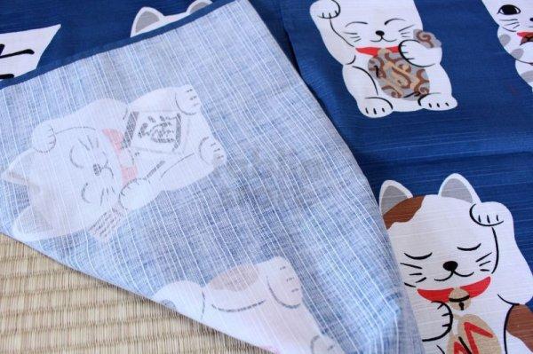 Photo5: Noren CSMO Japanese door curtain Shitifuku neko dark blue 85 x 90cm