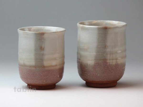 Photo2: Hagi yaki ware Japanese tea cups pottery Ginbai kumi yunomi set of 2