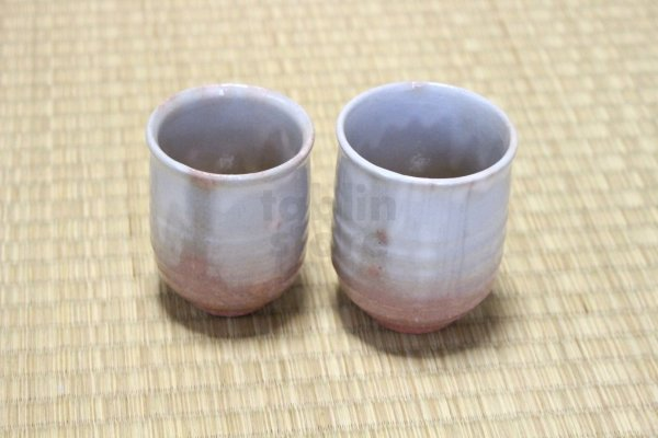 Photo1: Hagi yaki ware Japanese tea cups pottery Ginbai kumi yunomi set of 2