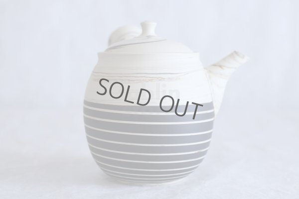 Photo2: Tokoname ware Japanese tea pot kyusu ceramic strainer YT Kenji black line 320ml