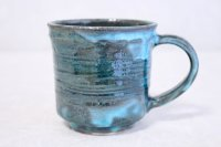 Shigaraki ware Japanese pottery tea mug coffee cup rain blue 330ml