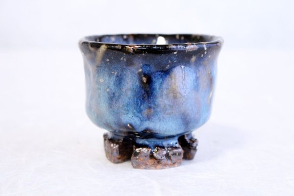 Photo2: Hagi ware Japanese pottery Sake cup guinomi Ao blue Seigan Yamane 110ml