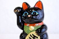Japanese Lucky Cat Tokoname ware YT Porcelain Maneki Neko black right H19cm