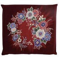 Japanese floor pillow cushion cover zabuton cotton flower tsujigahana 55 x 59cm