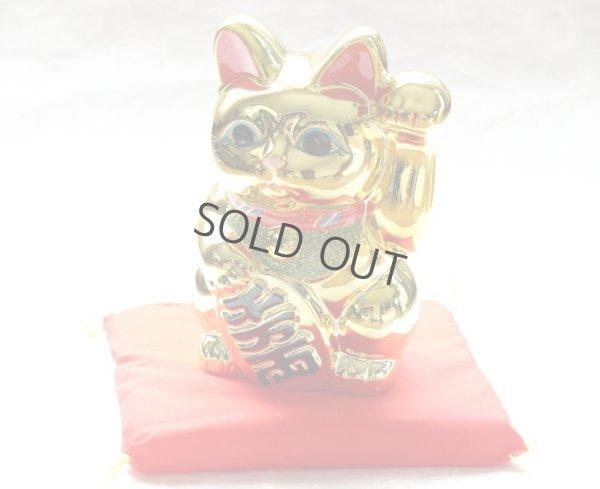 Photo1: Japanese Lucky Cat YT Tokoname ware Porcelain Maneki Neko Gold r cushion H18cm