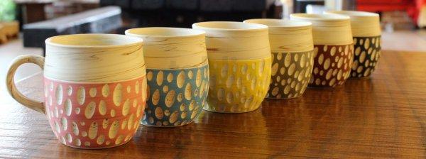 Photo1: Tokoname Japanese pottery Coffee Mug tea cup hand carved polka-dot Kenji 260ml