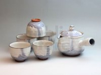 Japanese tea pot cups set Hagi ware ajisai soroe pottery tea strainer 520ml