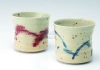 Shigaraki wabe Japanese pottery sake cup tumbler blue wine-red 280ml set of 2