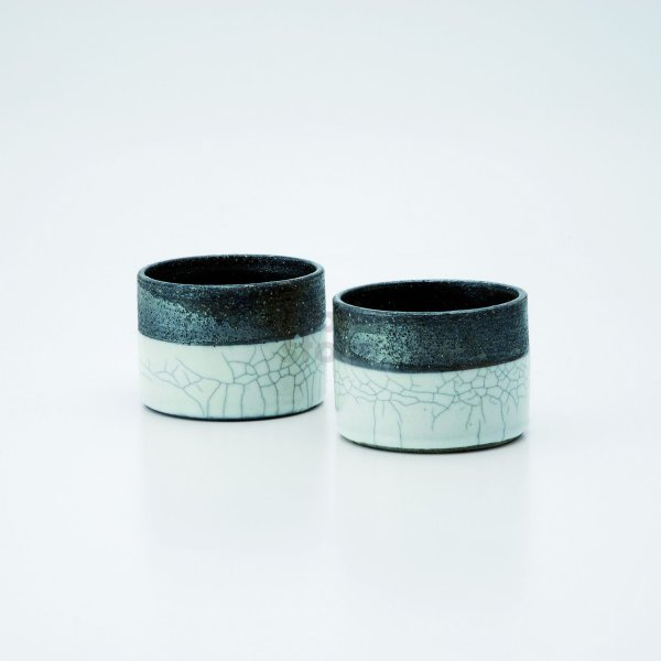 Photo1: Shigaraki wabe Japanese pottery sake cup tumbler kannyu 180ml set of 2