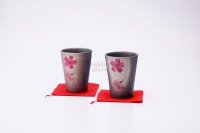 Shigaraki Japanese pottery tea cups wabe sakura cherry 230ml set of 2