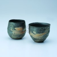 Shigaraki wabe Japanese pottery sake cup tumbler hakeme daruma 300ml set of 2