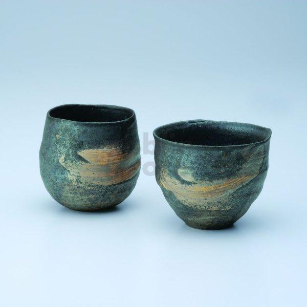 Photo1: Shigaraki wabe Japanese pottery sake cup tumbler hakeme daruma 300ml set of 2