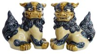 shiisa lion-shaped roof ornament of Okinawa pottery navyblue-white H12.5cm set of 2