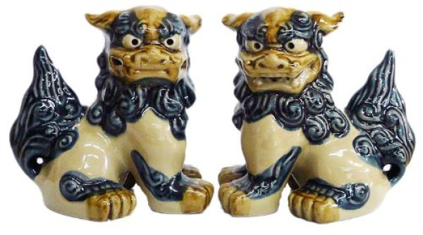 Photo1: shiisa lion-shaped roof ornament of Okinawa pottery navyblue-white H12.5cm set of 2