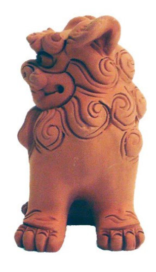 Photo2: shiisa lion-shaped roof ornament of Okinawa unglazed H 6.5cm set of 2
