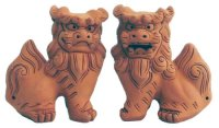 shiisa lion-shaped roof ornament of Okinawa unglazed H 6.5cm set of 2