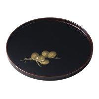 Japanese Echizen Urushi lacquer Bon wooden tray round gold pine tamari D303mm