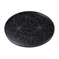 Japanese Echizen Urushi lacquer wooden tray bon zen peony round tamari D240mm