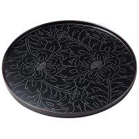 Japanese Echizen Urushi lacquer Bon wooden tray round peony tamari D303mm