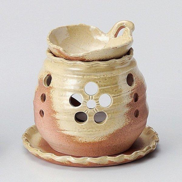 Photo1: Tokoname ware Japanese green tea aroma Tea Incense Burner Yaki leaf