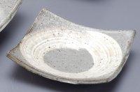 Shigaraki pottery Japanese plate enso hakeme gray D14 cm