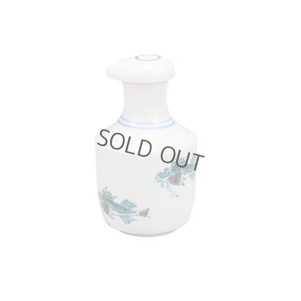 Photo2: Kutani Porcelain Soy Sauce Dispenser Bottle pot fish sushi white