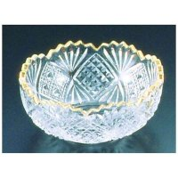 Japanese glass Yoshinuma gold Sashimi washoku bowl D 14cm