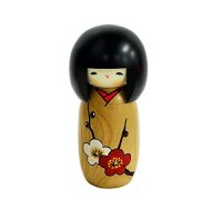 Kokeshi Japanese wooden doll usaburo creative Girl plum H14 cm