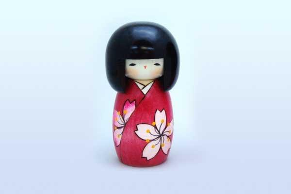 Photo1: okeshi Japanese wooden doll usaburo creative Sakura Cherry girl H13 cm