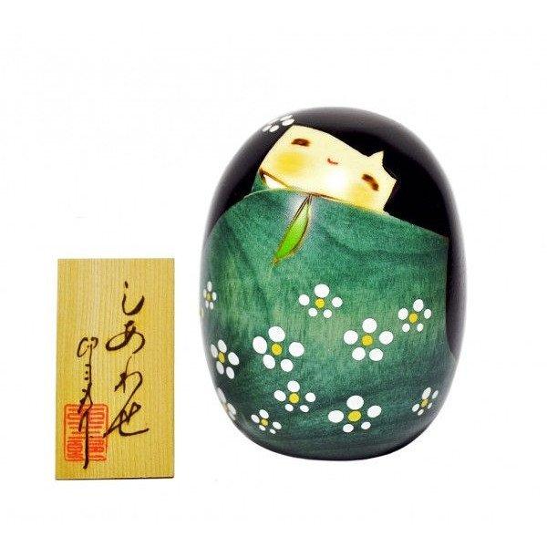 Photo2: Kokeshi Japanese wooden doll usaburo creative white flower green H9cm
