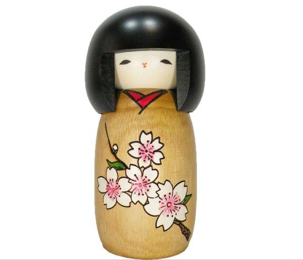 Photo1: Kokeshi Japanese wooden doll usaburo creative Sakura Cherry monogatari H14 cm