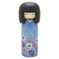 Kokeshi Japanese wooden doll usaburo creative Sakura Cherry blue H18 cm
