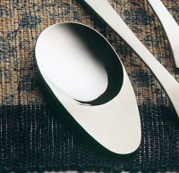Japanese green tea leaves spoon ellipse washoku stainless 8.3cm