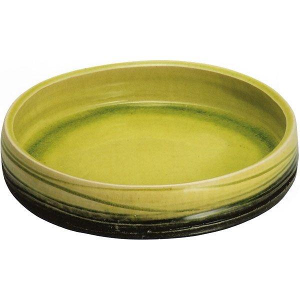 Photo1: Ikebana Suiban Vase Shigaraki Japanese pottery Round yellow D 31.5cm
