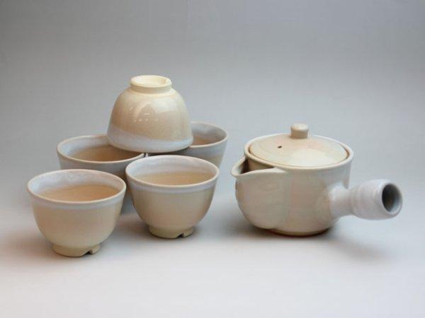Photo1: Hagi yaki ware Japanese tea pot cups set Himec with stainless tea strainer 340ml