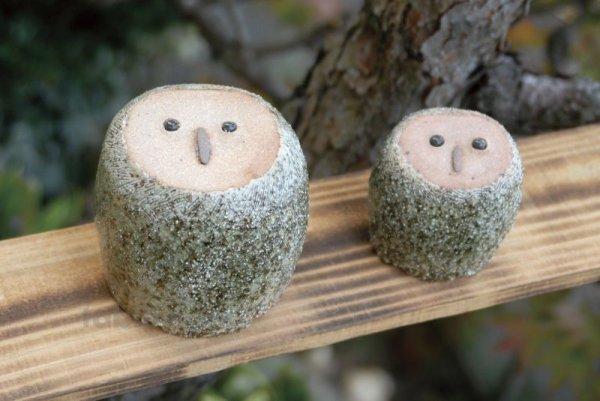 Photo2: Shigaraki pottery Japanese doll lucky owl mori ban H110mm