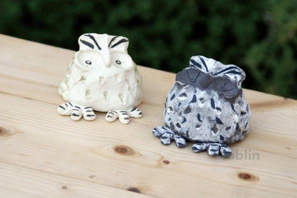 Photo2: Shigaraki pottery Japanese doll lucky owl gray H55mm
