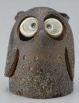 Photo2: Shigaraki pottery Japanese doll lucky owl hai gray H120mm (2)