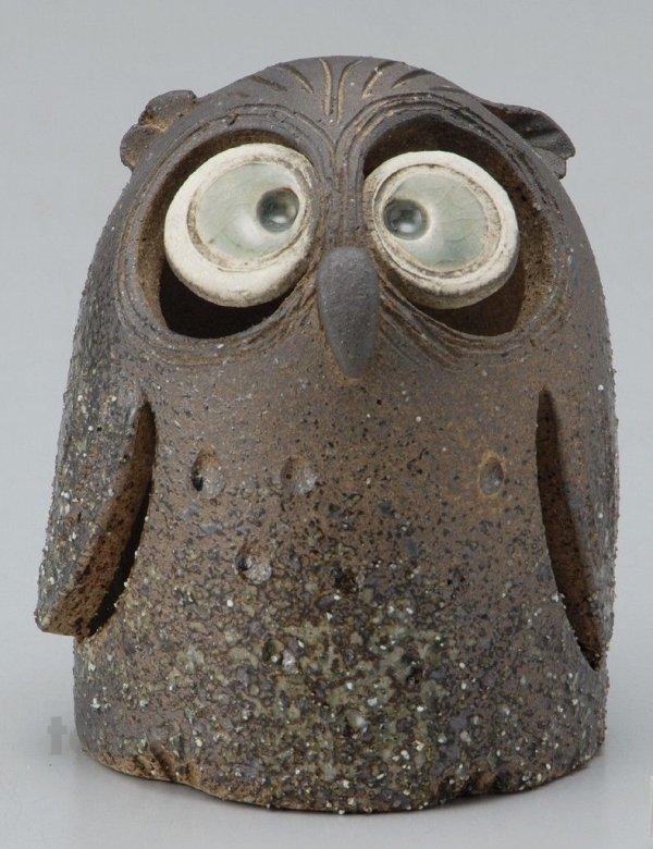 Photo2: Shigaraki pottery Japanese doll lucky owl hai gray H120mm