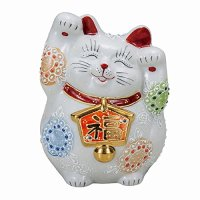 Japanese Lucky Cat Kutani Porcelain Maneki Neko both hands up ema white H14cm