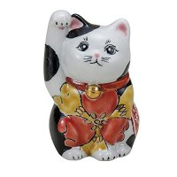 Maneki Neko Japanese Lucky Cat Kutani Porcelain flower iroe H11.5cm