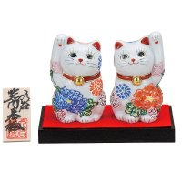 Japanese Lucky Cat Kutani porcelain flower hana H10cm set of 2