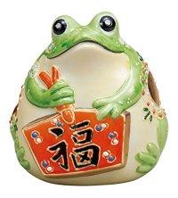 Japanese Frog Statue Kutani Porcelain Kaeru yellowish green mori Good luck H8cm