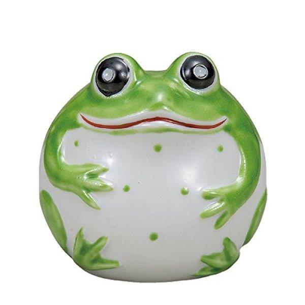 Photo1: Japanese Frog Statue Kutani Porcelain Kaeru yellowish green H8cm