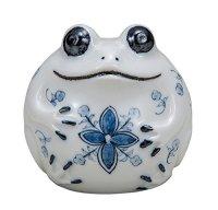 Japanese Frog Statue Kutani Porcelain Kaeru sometsuke navy blue H8cm