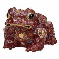 Japanese Frog Statue Kutani Porcelain Kaeru aka mori gold H13.5cm