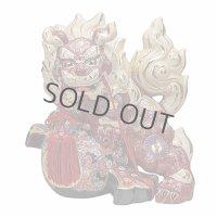 Japanese Leo Shishi Dragon Lion dog Kutani Porcelain gavel red H30cm